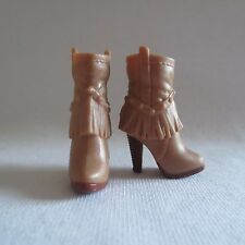NEW Barbie Style Glam Luxe Doll Tan Fringe Brown High Heel Cowboy Boots ~ Shoes