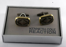Rare Kenneth Cole Silver Brass Gunmetal Color Cuff Link Jewelry NWT in Box