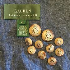RALPH LAUREN Silver Gray Brown LEOPARD CROWN CREST Blazer BUTTON Set Of 10