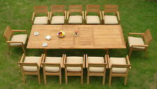 "13 PC OUTDOOR DINING TEAK SET - 117"" DOUBLE EXTN RECT TBL,12 STACKING CHAIR CELL"