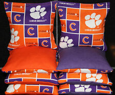 All Weather Cornhole Bean Bags w CLEMSON TIGERS Fabric Resin Filled Waterproof