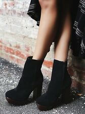 FREE PEOPLE JEFFREY CAMPBELL SKYLINE PLATFORM ANKLE BOOTS BLACK SUEDE 9 $218