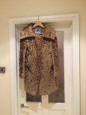 Astrakhan Blumarine  Stunning Monochrome Brown/golden Coat Size 10