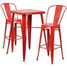Red Metal Indoor-Outdoor Bar Table Set with 2 Barstools CH-31330B-2-30GB-RED-GG