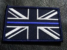 UNION THIN BLUE LINE POLICE UK UNION FLAG 3 x 2 inch HOOK PATCH