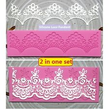 Set of 2 Lace Fondant Embosser Silicone Cake Decorating Mold Sugar Craft DIY Mat
