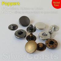 10, 100, Poppers Snap fastener Press stud Sewing Leather craft Clothe Bags