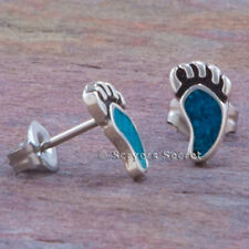 925 sterling silver southwest Turquoise Native BEAR PAW CLAW EARRINGS Stud Small