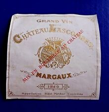 1949 Grand Vin Chateau Lascombes Margaux Wine Label RARE