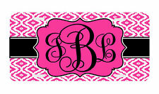 Personalized Monogrammed License Plate Auto Car Tag Wavy Diamond Black Pink