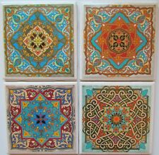 Set of 4 - Handmade Natural Stone Ceramic Tile Drink Coasters - Moroccan 1  - A