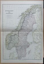 1882 LARGE ANTIQUE MAP - SWEDEN AND NORWAY