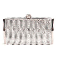 Dazzling All-Over Diamante Covered Box Clutch Silver Evening Bag Party Handbag