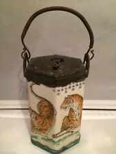Antique Chinese Porcelain & Copper Hexagonal Teapot with Tigers and Writing