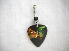 LION OF JUDAH BOB MARLEY LIGHT IT UP PRINTED GUITAR PICK 14g BLACK CZ BELLY RING