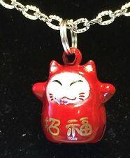 "BIN Asian Maneki Neko Red Lucky Cat Bell Charm Tibetan Silver with 18"" Necklace"
