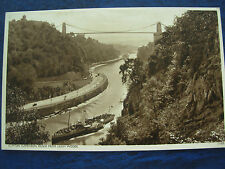 VINTAGE POSTCARD CLIFTON SUSPENSION BRIDGE FROM LEIGH WOODS - PADDLE STEAMER