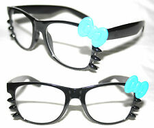 Women's Wayfarer Eye Glasses Hello Kitty blue Bow Black clear Lens Whiskers