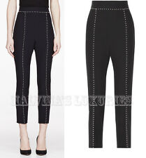 $1,195 ALEXANDER MCQUEEN CROPPED PANTS BLACK WITH WHITE PEARL DETAIL IT 40 US 4