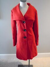 GUESS  Red Coat Women's L Large New Wool Blend Buttoned Big Collar Lined