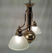 VINTAGE BRASS AND GLASS 2 ARM CHANDELIER WITH SPOT LIGHT