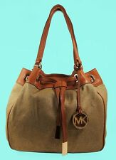 MICHAEL KORS MARINA Gold Canvas & Luggage Leather LG Drawstring Tote Bag $268