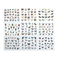 24 Sheets 3D   Butterfly Nail Art Transfer Stickers Tips Decal Decoration HU