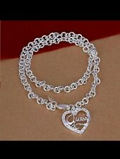 Heart & Chain necklace 925 Stamped Silver lady mom wife newyear christmas gift