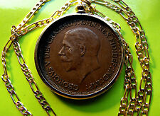 """1936 King George V BIG ENGLISH PENNY Coin Pendant 28"""" Gold Filled Figaro Chain"""