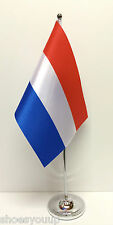 Netherlands Holland Satin Flag with Chrome Base Table Desk Flag Set