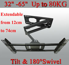 "Full Motion Heavy Duty TV Mount 180° Swivel & -5°~15° Tilt Bracket 32-65"" Screen"