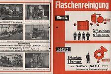 """BERLIN, Werbung 1932, Schäfflers bürstenlose Flaschenreinigung """"SAXO"""""""