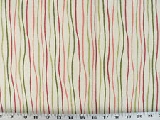 Drapery Upholstery Fabric Contemporary Cotton Stripe - Pink, Red, Green on Ivory