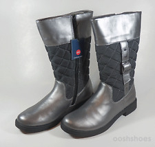 Umi Girls UmiTex Boots UK 2 EU 34 US 2 Pewter Leather Zip Quiltee RRP £53