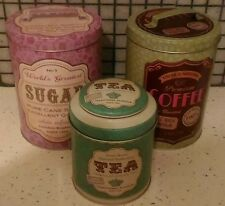 NEW RETRO VINTAGE TEA COFFEE SUGAR KITCHEN ROUND STORAGE TIN JAR CANISTERS SET