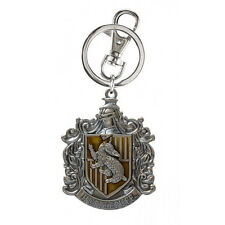 Harry Potter House of Hufflepuff Crest Logo Colored Pewter Keyring Keychain NEW