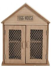 6 Egg Storage House Shabby Chic Wooden Holder Kitchen Cabinet Rack Cupboard Tray