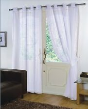 Pair of White 59'' x 90'' Voile Net Eyelet / Ring Top Curtain Panel + Tie Back