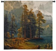 California Sierra Nevada Mountains Deer Country Woven Art Tapestry Wall Hanging