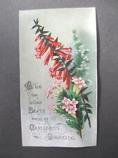 ANTIQUE CHRISTMAS Greetings Card Wild Pink Heathers Victorian Chromo Litho 1880s