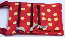 Cell Phone Messenger Bag Small Flat Crossover Purse ID vacation Polka Dot Red