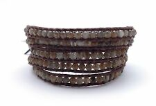 CHAN LUU Labradorite Mineral Stone Dark Brown Leather 5 Wrap Bracelet 33 - 35""
