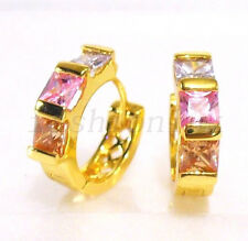 Unisex Pink Colourful CZ Cubic 18K Yellow Gold Plated Xmas Birthday Hoop Earring