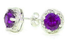2 Carat Amethyst & Diamond Round Stud Earrings 14Kt White Gold