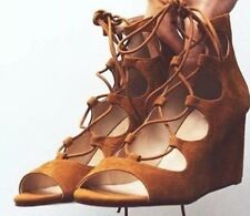 ZARA Tan Brown Lace Up Leather Wrap Wedges Sandals UK 5 Euro 38 Shoes