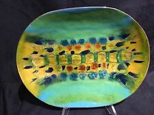 Vintage 1967 Enamel Over Copper Plate Charger Mid Century