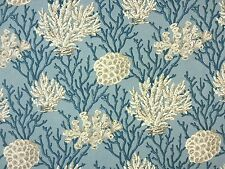 SEYCHELLES CORAL BLUE FABRIC A2 MARINE BATHROOM CURTAINS BLINDS 100% COTTON