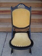 Vintage Wood Folding Rocker Rocking Chair Gold Velour Seat w Bicentennial Eagle