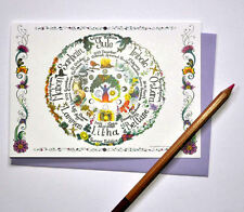 Wheel of the Year card calendar Pagan wiccan handfasting  pagan moon Celtic art
