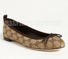 GUCCI SHOES ALI CANVAS AND LEATHER BALLET FLATS GG LOGO BOW DETAIL 38 / 8